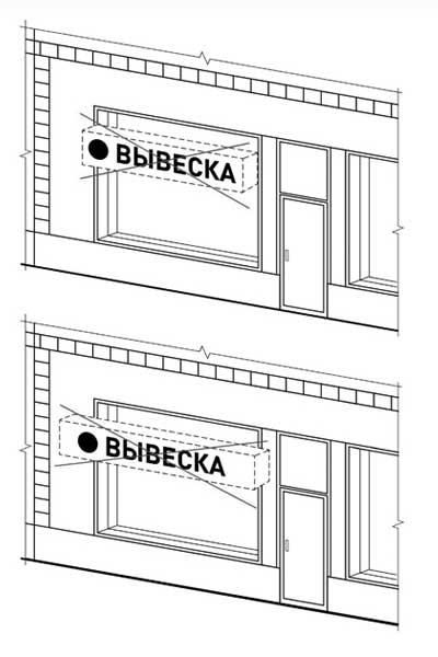 Не должны выходить за плоскость фасада объекта