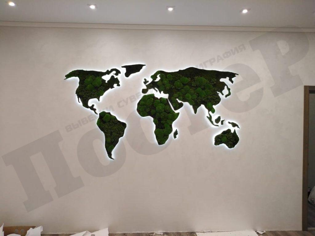 Карта мира из натурального мха в Москве